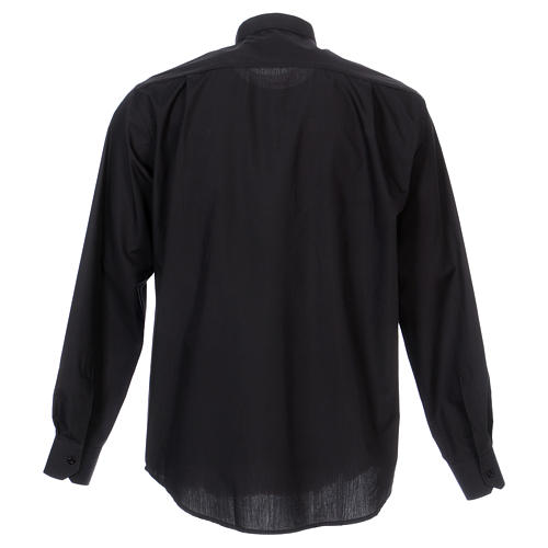 Camisa clergyman manga larga mixto algodón negra 6