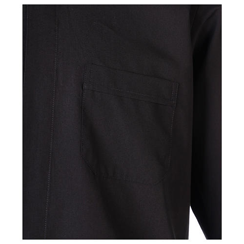 Camisa clergyman manga larga mixto algodón negra 2