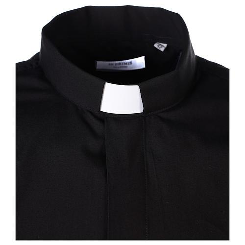 Camisa clergyman manga larga mixto algodón negra 3