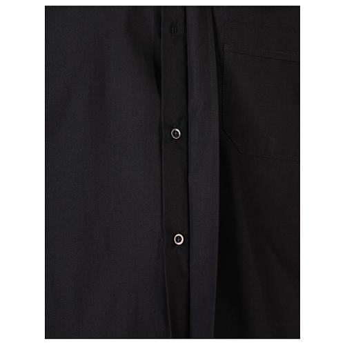 Camisa clergyman manga larga mixto algodón negra 5