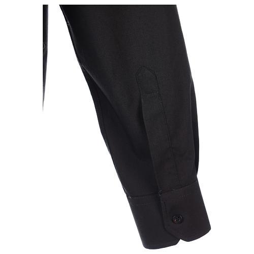 Camisa clergyman manga larga mixto algodón negra 7