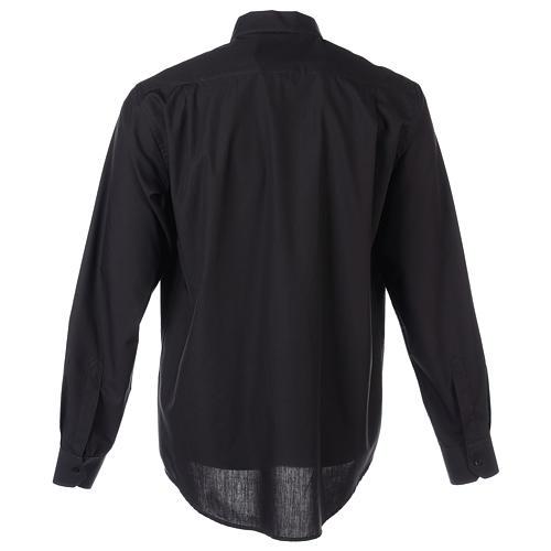 Camisa clergyman manga larga mixto algodón negra 8