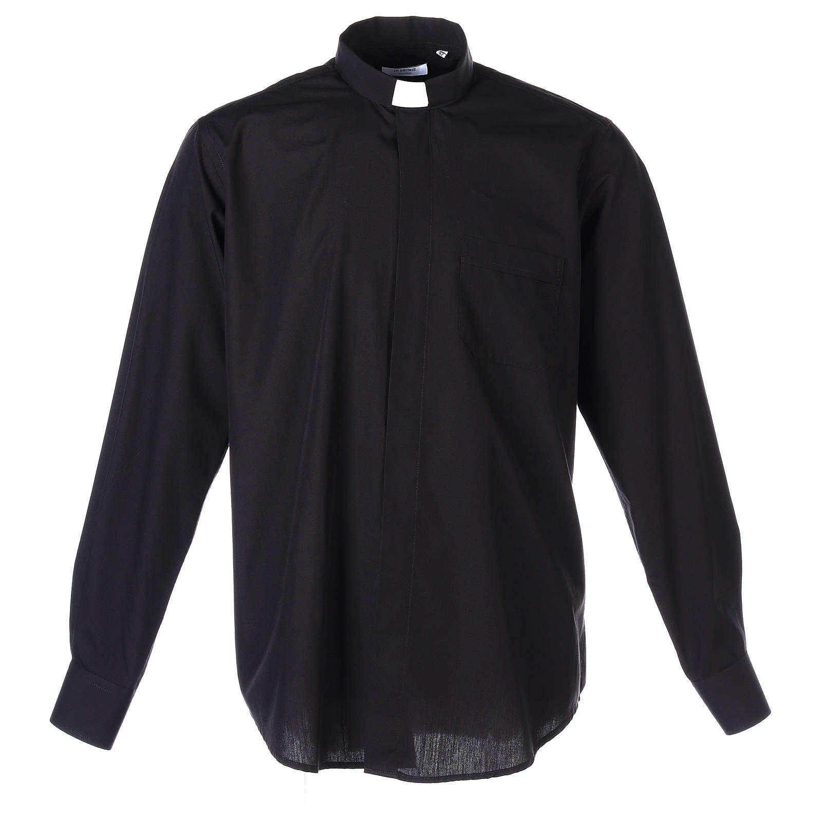 Chemise Clergyman longues manches tissu mixte coton noir 4