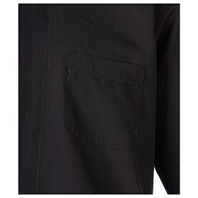 Chemise Clergyman longues manches tissu mixte coton noir s2