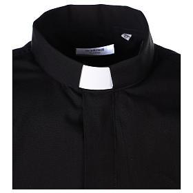 Chemise Clergyman longues manches tissu mixte coton noir s3