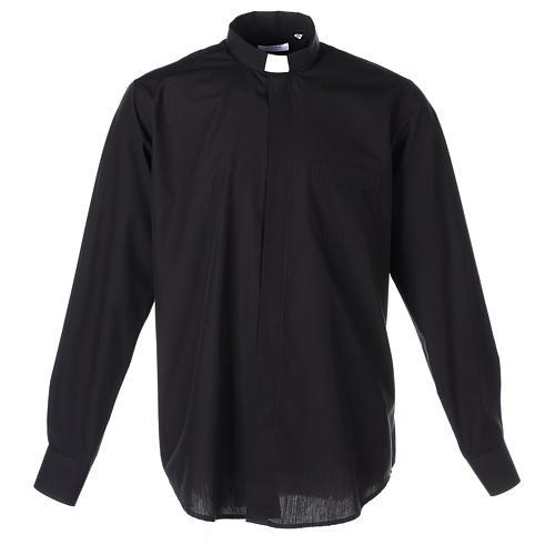 Chemise Clergyman longues manches tissu mixte coton noir 1