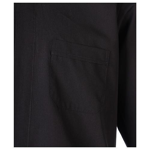 Chemise Clergyman longues manches tissu mixte coton noir 2