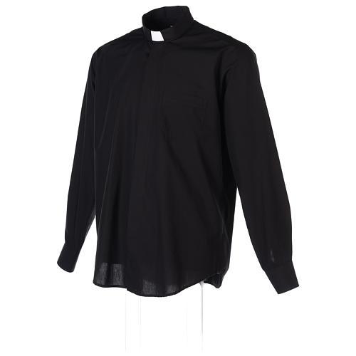 Chemise Clergyman longues manches tissu mixte coton noir In Primis 4