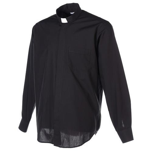 Chemise Clergyman longues manches tissu mixte coton noir 6