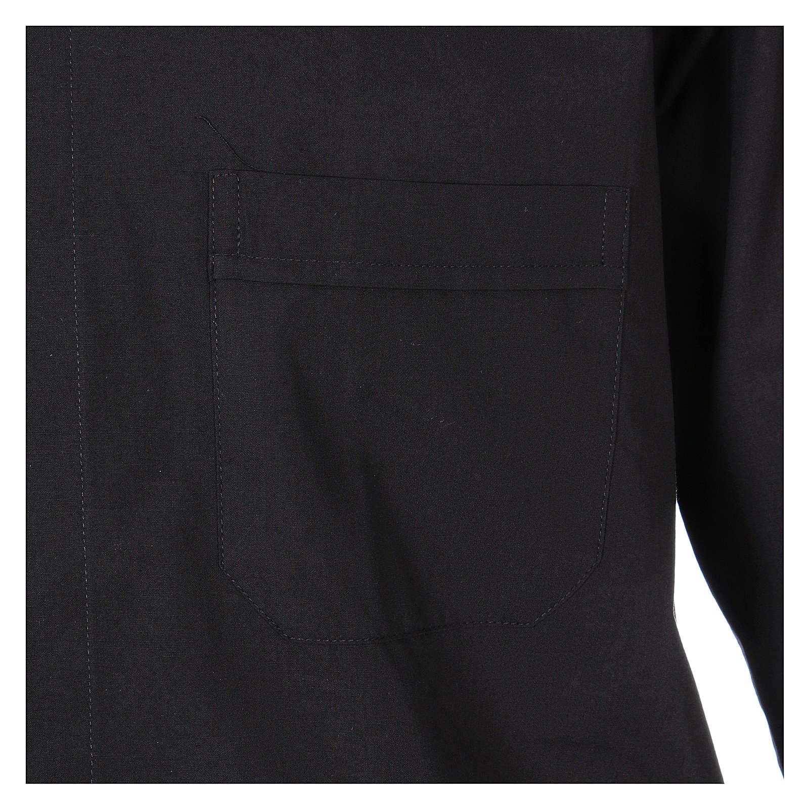 Camicia clergyman manica lunga misto cotone nera 4