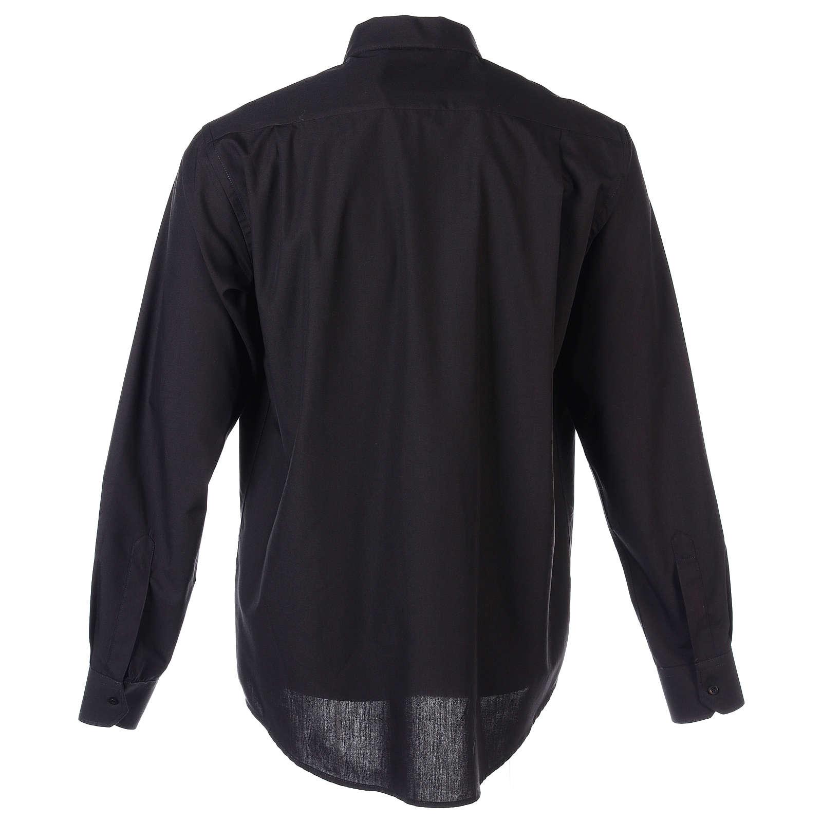 Koszula kapłańska długi rękaw czarna mieszana bawełna In Primis 4