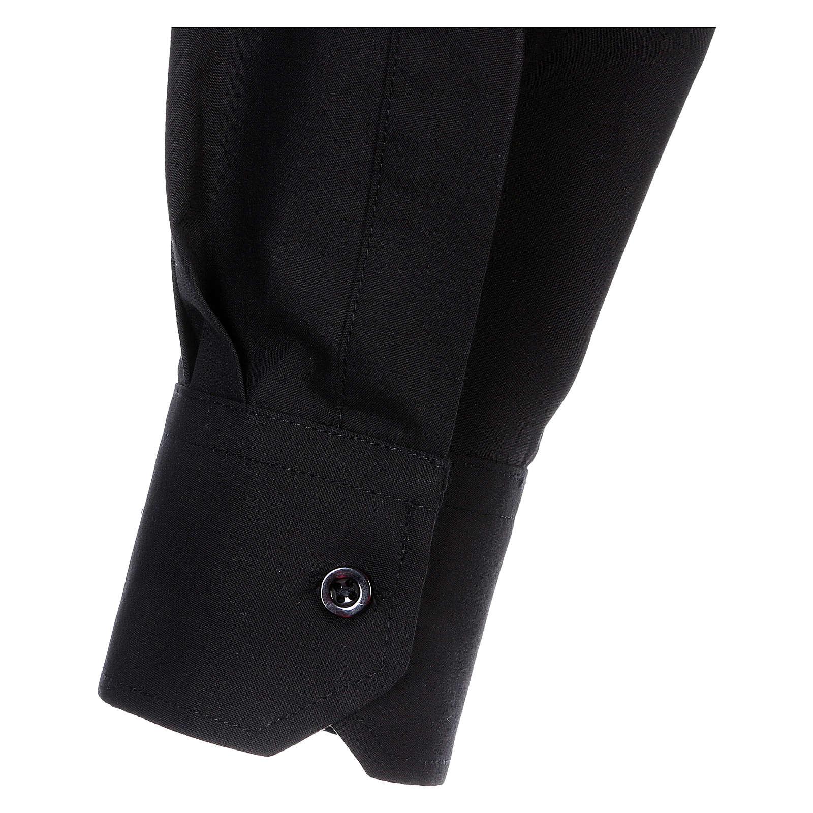 Camisa Clergyman manga longa misto algodão preto 4