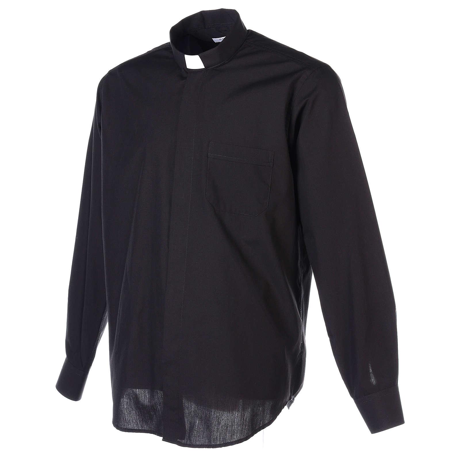 Camisa Clergyman manga longa misto algodão preto In Primis 4