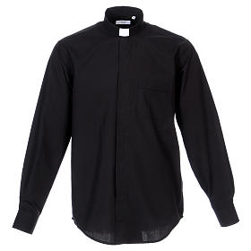 Camisa Clergyman manga longa misto algodão preto s1