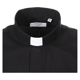 Camisa Clergyman manga longa misto algodão preto s2