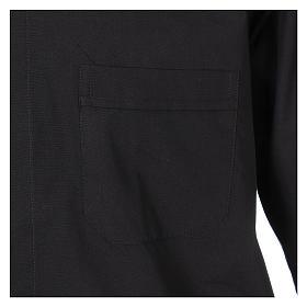 Camisa Clergyman manga longa misto algodão preto s3