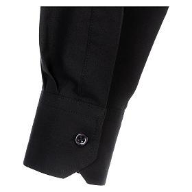 Camisa Clergyman manga longa misto algodão preto s5