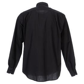 Camisa Clergyman manga longa misto algodão preto s6