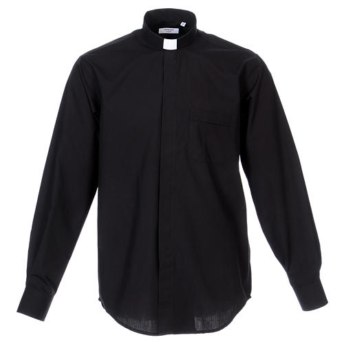 Camisa Clergyman manga longa misto algodão preto 1