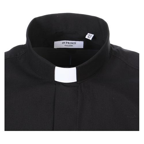 Camisa Clergyman manga longa misto algodão preto 2