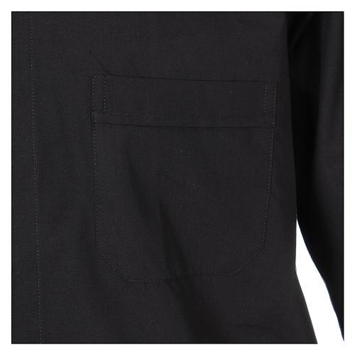 Camisa Clergyman manga longa misto algodão preto 3