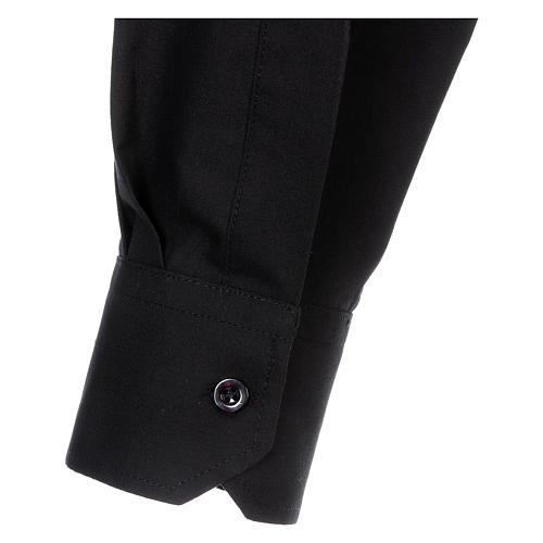 Camisa Clergyman manga longa misto algodão preto 5