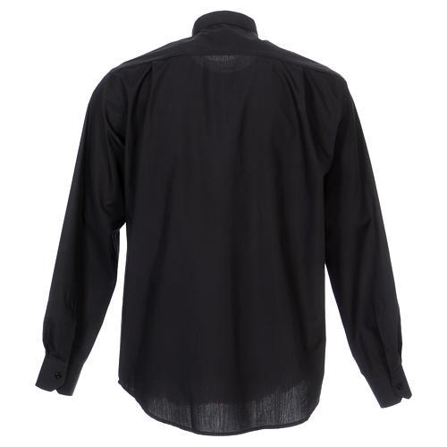 Camisa Clergyman manga longa misto algodão preto 6