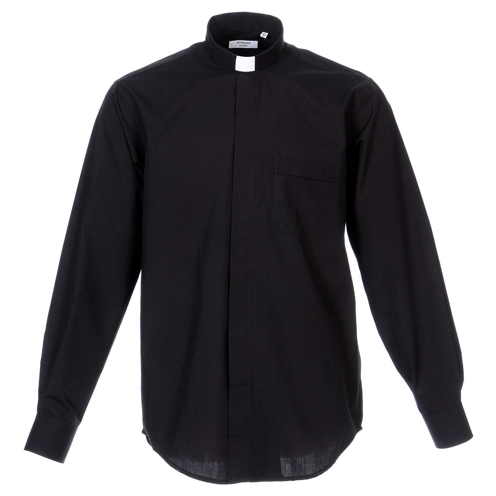 Long Sleeve Black Clergy Shirt, mixed cotton 4