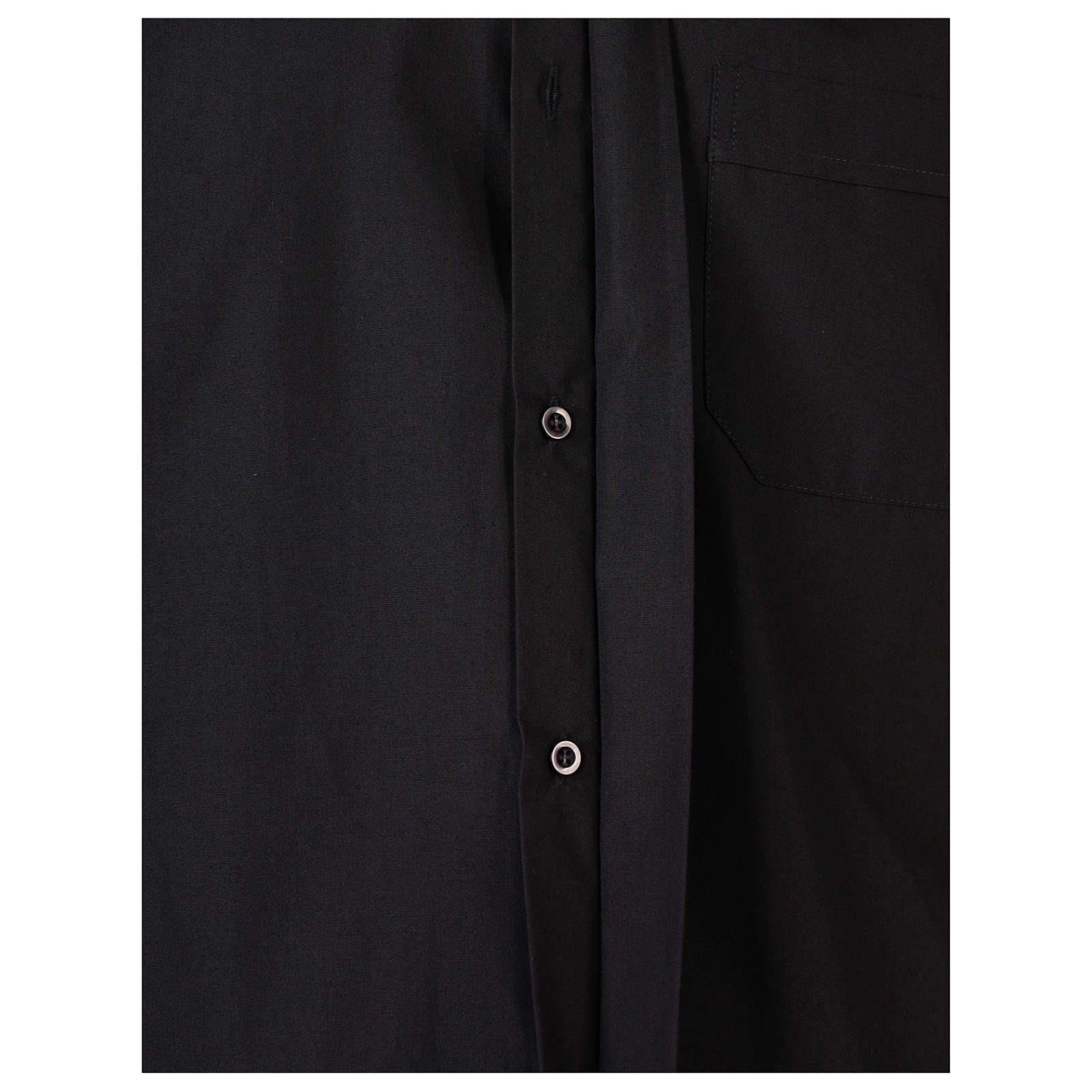 Long Sleeve Black Clergy Shirt, mixed cotton In Primis 4