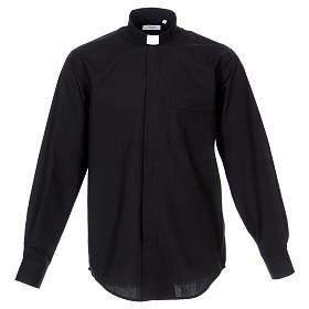 Long Sleeve Black Clergy Shirt, mixed cotton s1