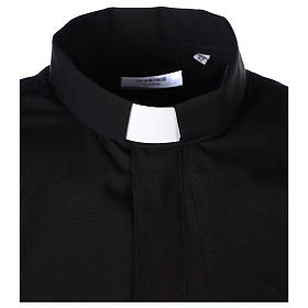 Long Sleeve Black Clergy Shirt, mixed cotton In Primis s3