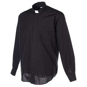 Long Sleeve Black Clergy Shirt, mixed cotton In Primis s6