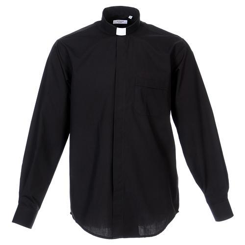 Long Sleeve Black Clergy Shirt, mixed cotton 1
