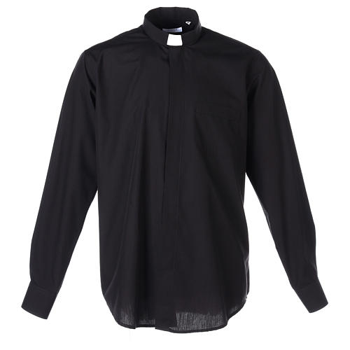 Long Sleeve Black Clergy Shirt, mixed cotton In Primis 1