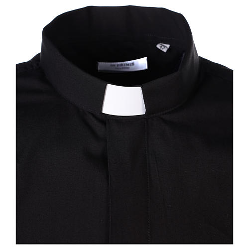 Long Sleeve Black Clergy Shirt, mixed cotton In Primis 3