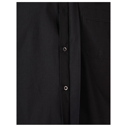 Long Sleeve Black Clergy Shirt, mixed cotton In Primis 5