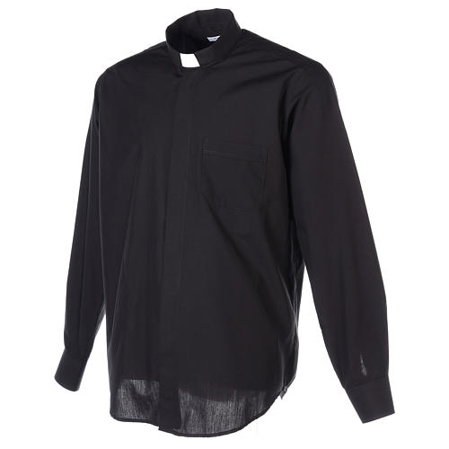 Long Sleeve Black Clergy Shirt, mixed cotton In Primis 6