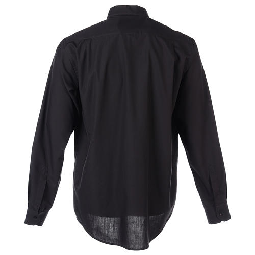 Long Sleeve Black Clergy Shirt, mixed cotton In Primis 8