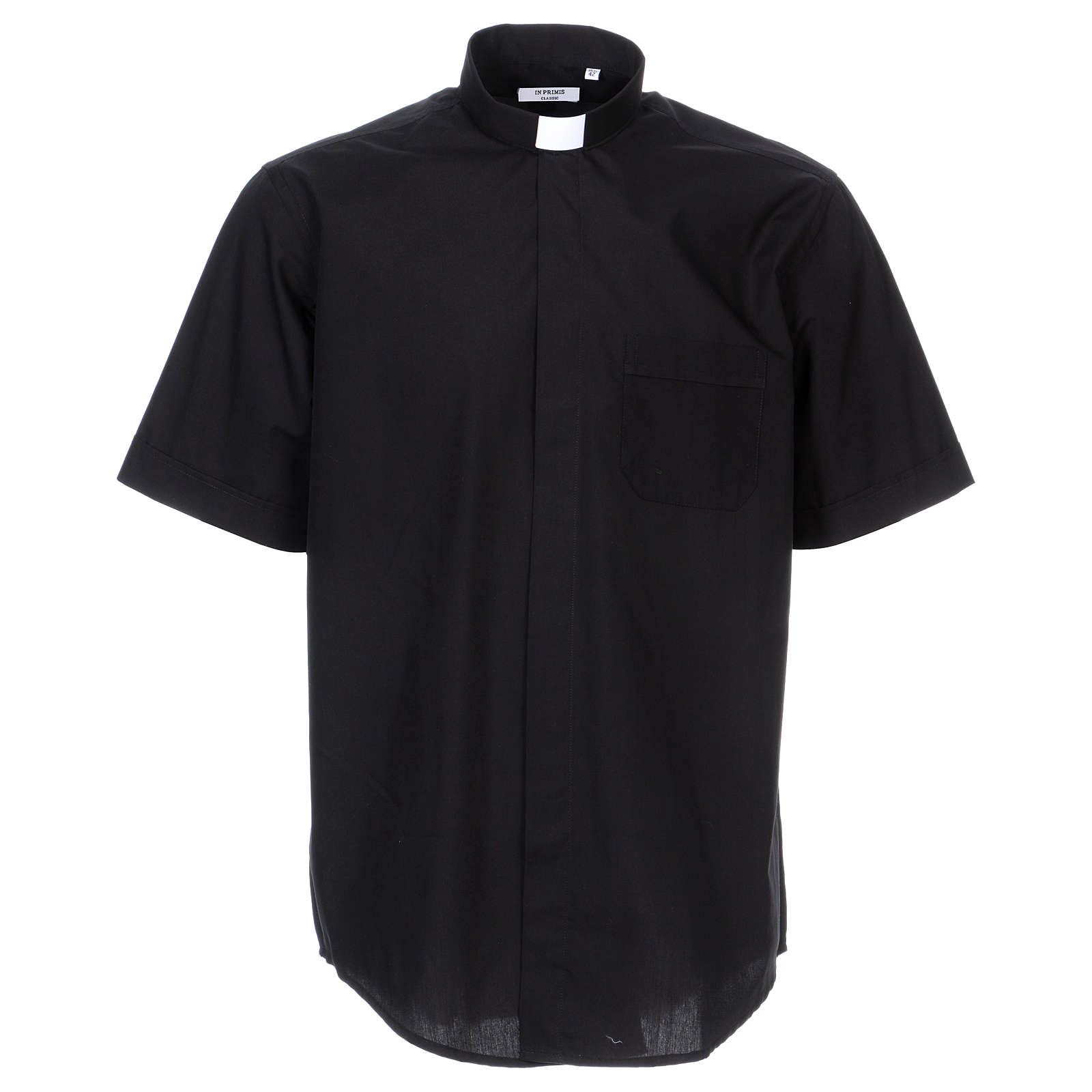 Short-sleeved clergy shirt in black cotton blend 4