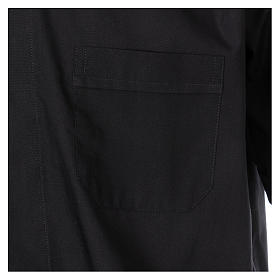 Short-sleeved clergy shirt in black cotton blend s3