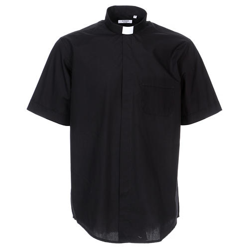 Short-sleeved clergy shirt in black cotton blend 1