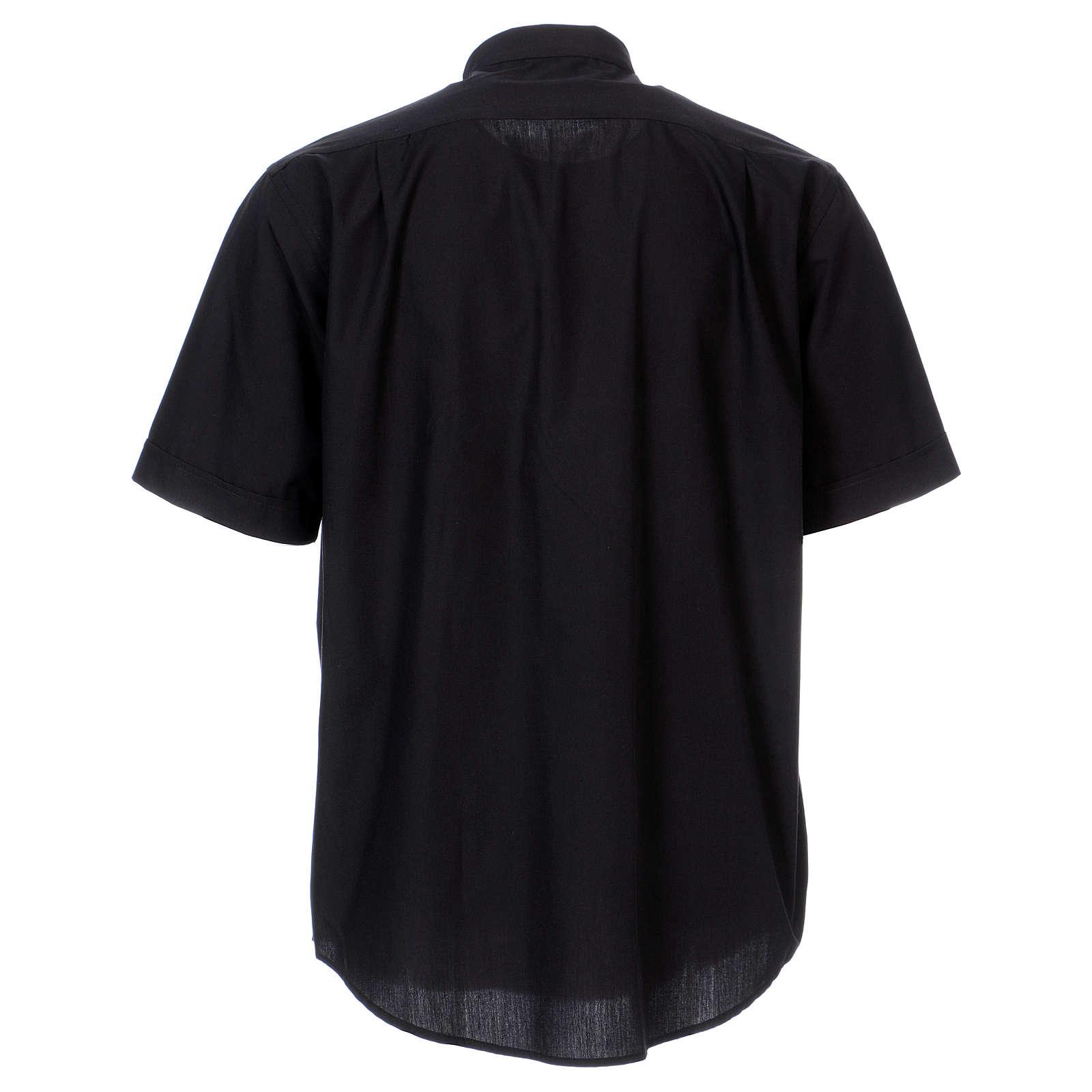 Chemise col Clergy manches courtes mixte coton noir In Primis 4