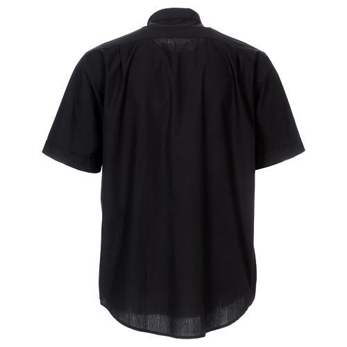 Chemise col Clergy manches courtes mixte coton noir In Primis 5