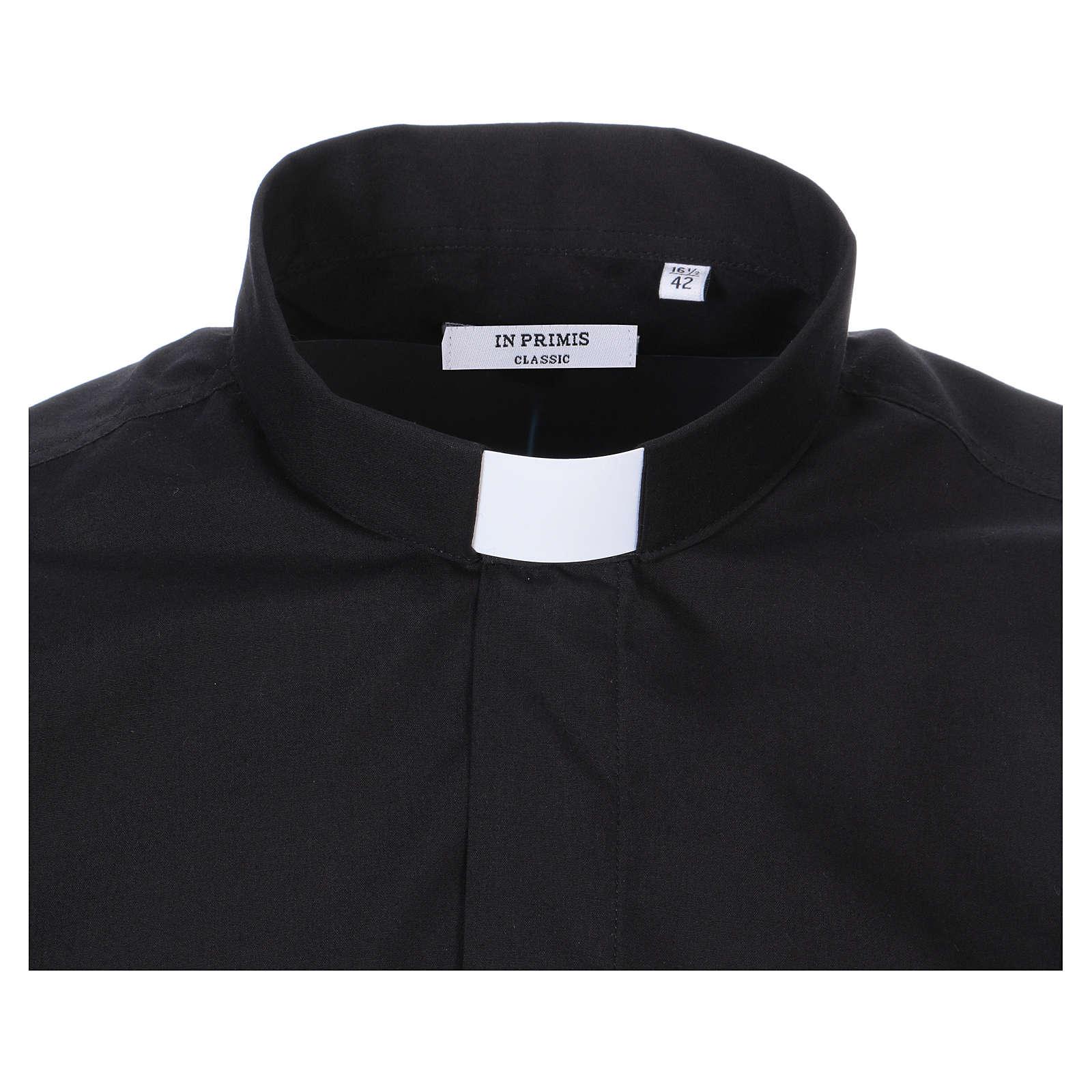Camisa Colarinho Clergy manga curta misto algodão preto 4