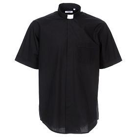 Camisas de Sacerdote: Camisa Colarinho Clergy manga curta misto algodão preto