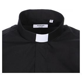 Camisa Colarinho Clergy manga curta misto algodão preto s2