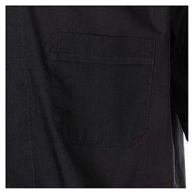 Camisa Colarinho Clergy manga curta misto algodão preto s3