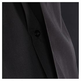 Camisa Colarinho Clergy manga curta misto algodão preto s4