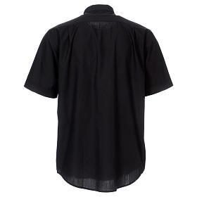 Camisa Colarinho Clergy manga curta misto algodão preto s5