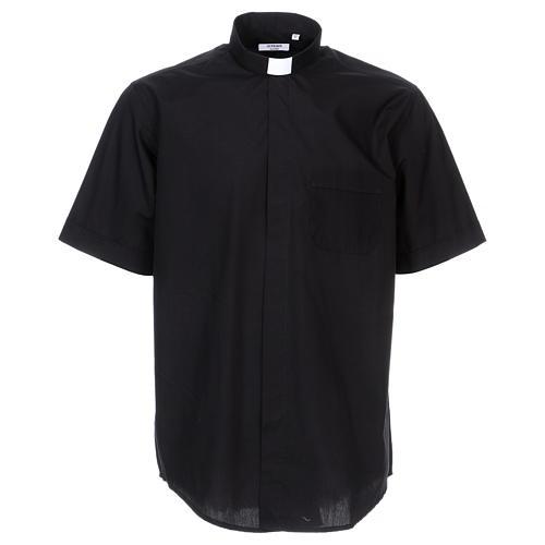 Camisa Colarinho Clergy manga curta misto algodão preto 1